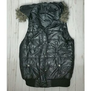 Winter Outerwear Down Vest With Fur Hood